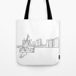 Halifax Ferry, black and white Tote Bag