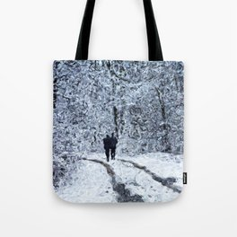 Snow path in the wood, winter walk Tote Bag