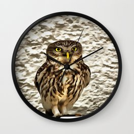 Small Owl In Camouflage Wall Clock