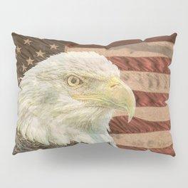 Rustic Bald Eagle on American Flag A213 Pillow Sham