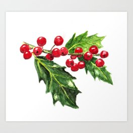 Holly Branch with Berries Art Print