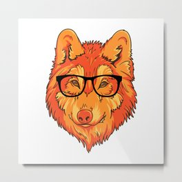 Hipster Wolf Metal Print
