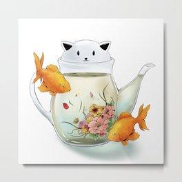Flowering Tea in a Cat Teapot Metal Print