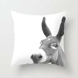 Black and white donkey Throw Pillow
