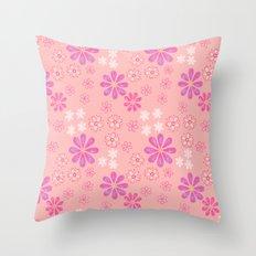 Pink Petal Pattern Throw Pillow