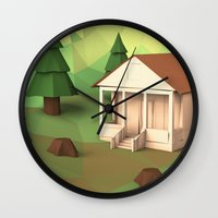 cabin Wall Clocks featuring Cabin by CharismArt