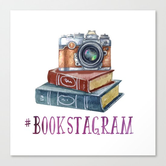 Watercolor Bookstagram Canvas Print