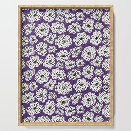 Spotted modern floral on purple Serving Tray