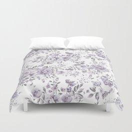 FLORAL VINTAGE ROSES MAUVE WHITE Duvet Cover