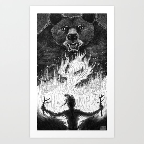 The Passing of Fire from Bear to Man Art Print