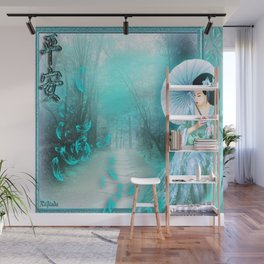 Geisha In Teal Wall Mural