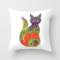 alice wonderland Throw Pillows featuring Wonderland by Heather Searles