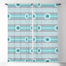 Concentric Circles and Stripes in Teals Blackout Curtain