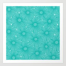 hundreds of aqua flowers Art Print