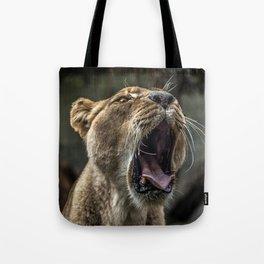 Yawning Female Lion Tote Bag