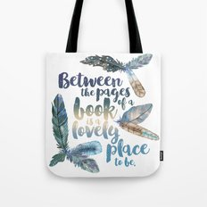 Between the Pages - Feathery White Tote Bag