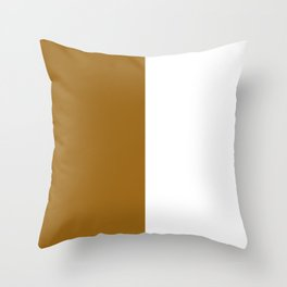 White and Golden Brown Vertical Halves Throw Pillow
