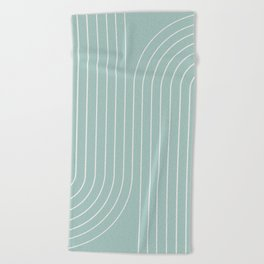 Minimal Line Curvature - Sage Beach Towel