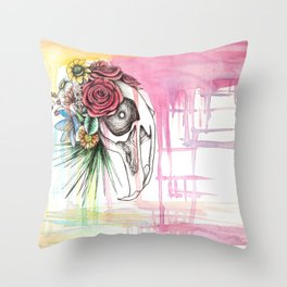 Skull and Flowers n.1 Throw Pillow