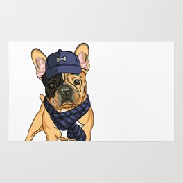 Cute puppy pug in baseball hat and scarf. Rug