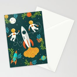 Race to the Moon with Flower Power Stationery Cards