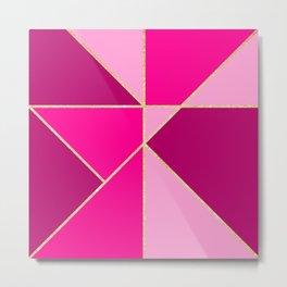 Modern color block pink neon pastel gold stripes Metal Print