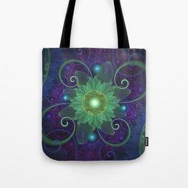 Glowing Blue-Green Fractal Lotus Lily Pad Pond Tote Bag