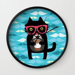 Black cat + coffee Wall Clock