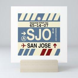 SJO San Jose Costa Rica • Airport Code and Vintage Baggage Tag Design Mini Art Print