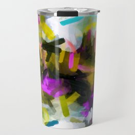 pink yellow blue black abstract painting background Travel Mug