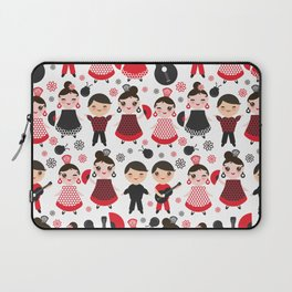 Seamless pattern spanish flamenco dancer. Kawaii cute face with pink cheeks and winking eyes. Laptop Sleeve