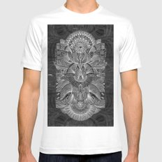 Etched Offering II White Mens Fitted Tee MEDIUM