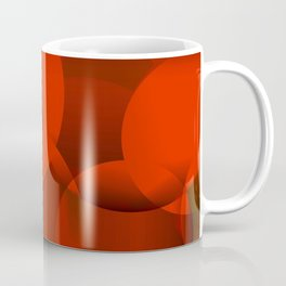Abstract soap of orange molecules and transparent bubbles on a red background. Coffee Mug