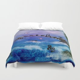 Music, piano with birds and butterflies Duvet Cover