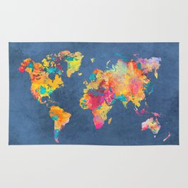 world map blue 2061 Rug