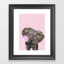 Baby Elephant Blowing Bubble Gum Framed Art Print