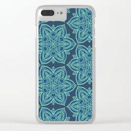Teal Mandalas Clear iPhone Case