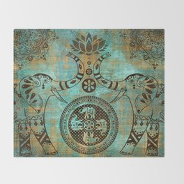 Elephants Lotus Flower Distressed Mandala Design Throw Blanket