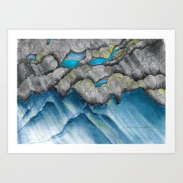 Mountain Landscape: abstract clouds illustration - Nature art - landscape drawing - pen drawing Art Print