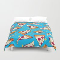 pizza Duvet Covers featuring pizza by Erin Lowe