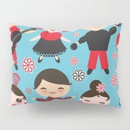 Seamless pattern spanish flamenco dancer. Kawaii cute face with pink cheeks and winking eyes. Pillow Sham