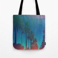los angeles Tote Bags featuring Los Angeles. by Polishpattern