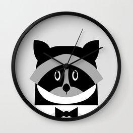 Racoon Bw Wall Clock
