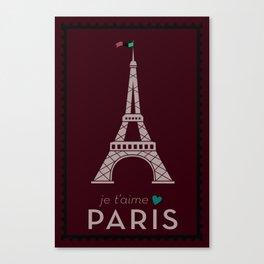 Je t'amie Paris Canvas Print
