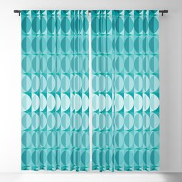 Leaves in the moonlight - a pattern in teal Blackout Curtain