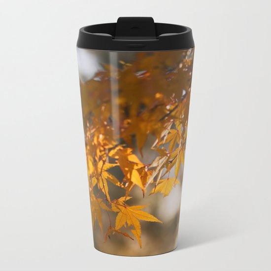 Autumnlights - Gold marple leaves at sparkling backlight Metal Travel Mug