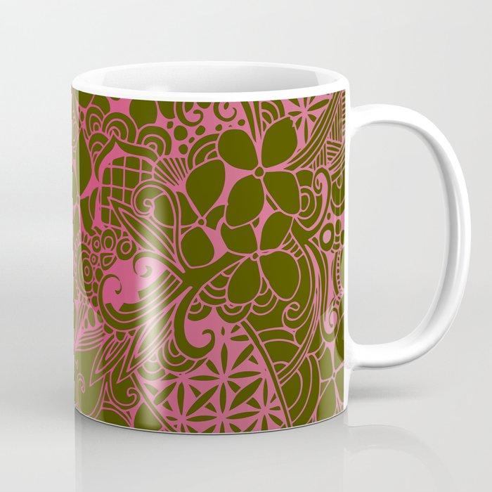 Olive square, pink floral doodle, zentangle inspired art Coffee Mug