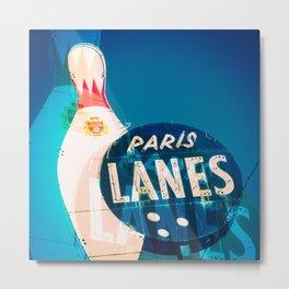 Paris Bowling Lanes Neon Sign Metal Print