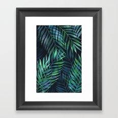 Dark green palms leaves pattern Framed Art Print
