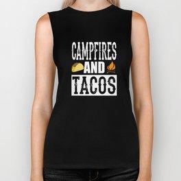 Campfires and Tacos Funny Taco Camping Biker Tank